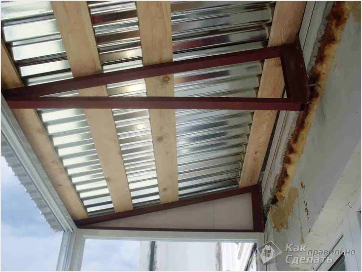 Крыша на балкон своими руками фото